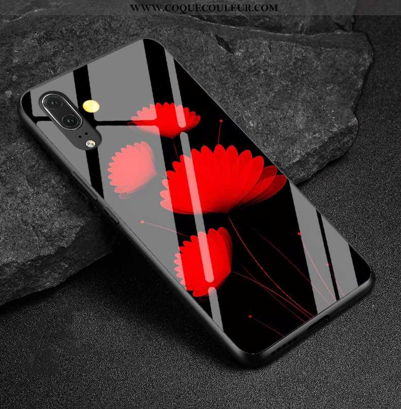 Coque Huawei P20 Verre Téléphone Portable Protection, Housse Huawei P20 Dessin Animé Miroir Rouge