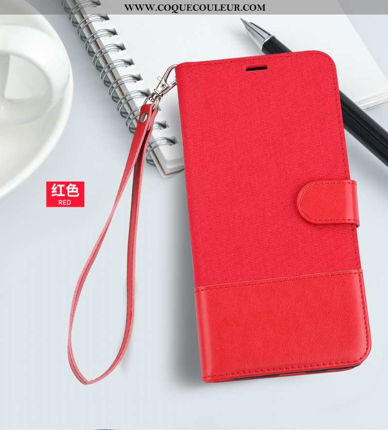 Coque Huawei P20 Cuir Portefeuille Coque, Housse Huawei P20 Protection Étui Rouge