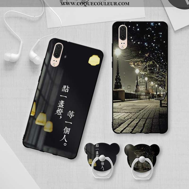 Coque Huawei P20 Personnalité Téléphone Portable Noir, Housse Huawei P20 Tendance Fluide Doux Noir