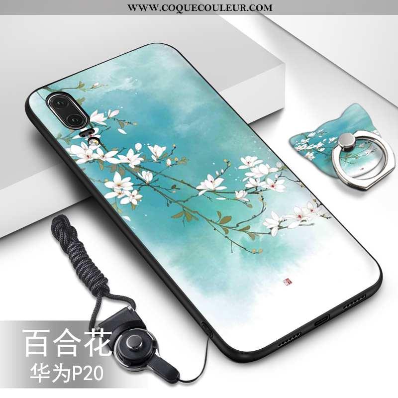 Étui Huawei P20 Fluide Doux Incassable Vert, Coque Huawei P20 Silicone Tendance Verte