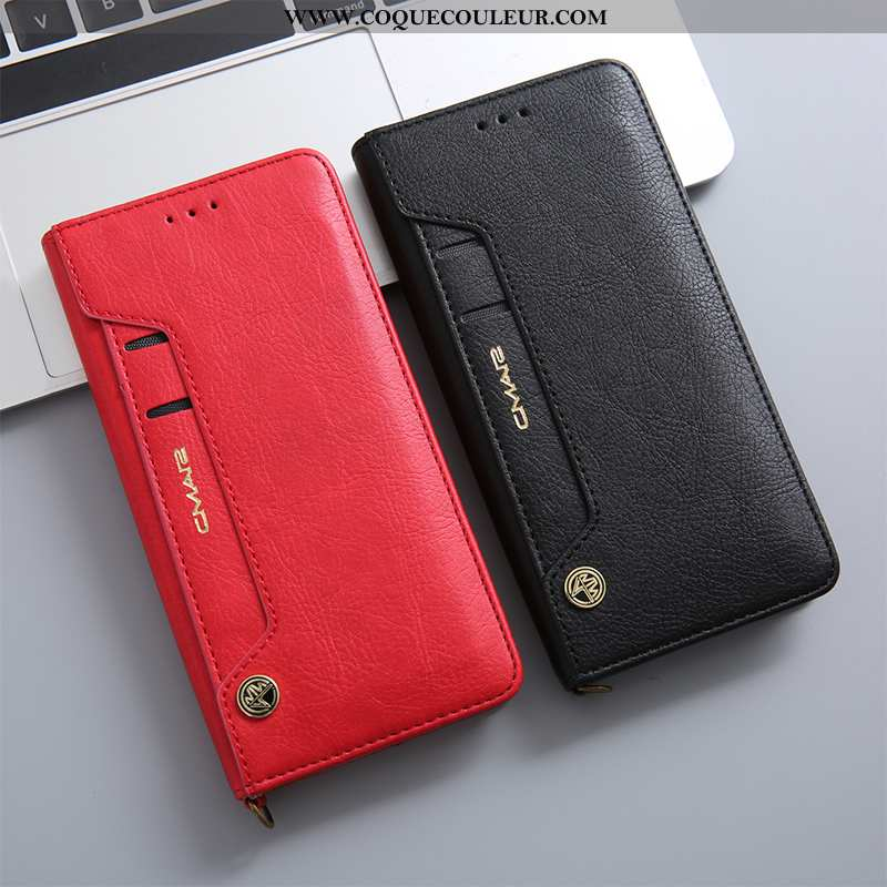 Housse Huawei P20 Protection Incassable Étui, Étui Huawei P20 Cuir Véritable Coque Rouge