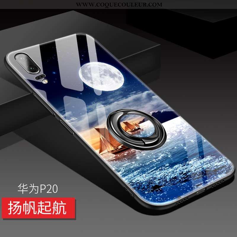 Étui Huawei P20 Verre Incassable Téléphone Portable, Coque Huawei P20 Personnalité Luxe Rouge
