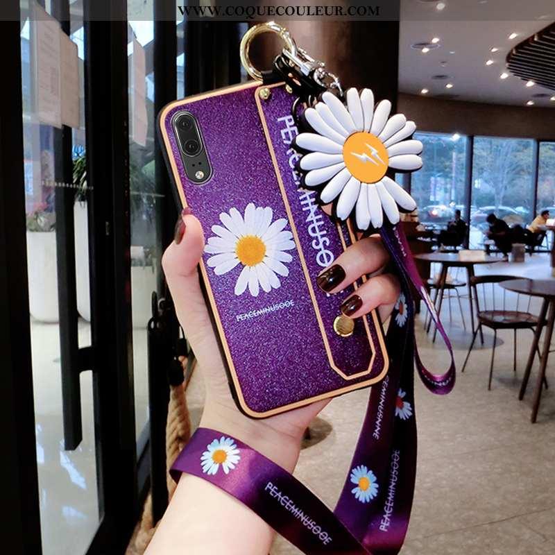 Housse Huawei P20 Silicone Tendance Coque, Étui Huawei P20 Ornements Suspendus Incassable Violet