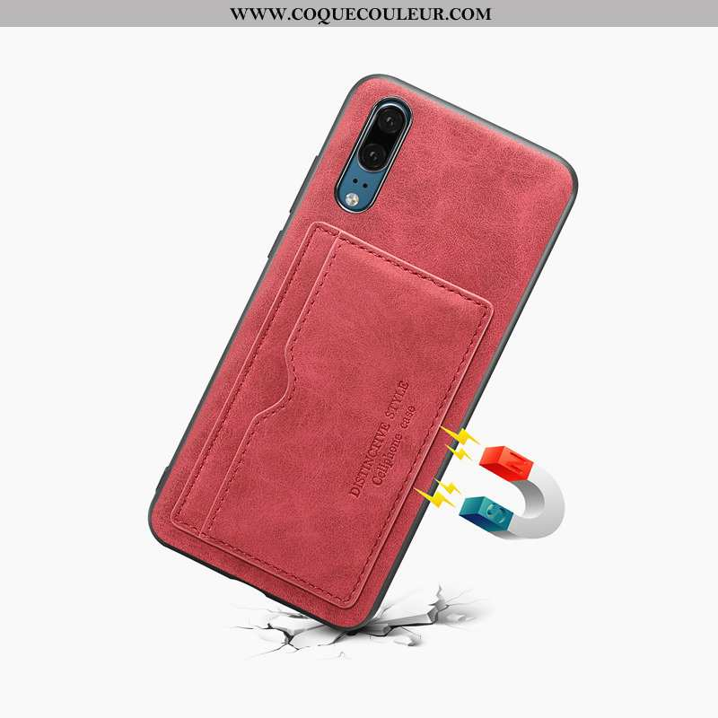 Coque Huawei P20 Protection Étui Rouge, Housse Huawei P20 Cuir Rouge