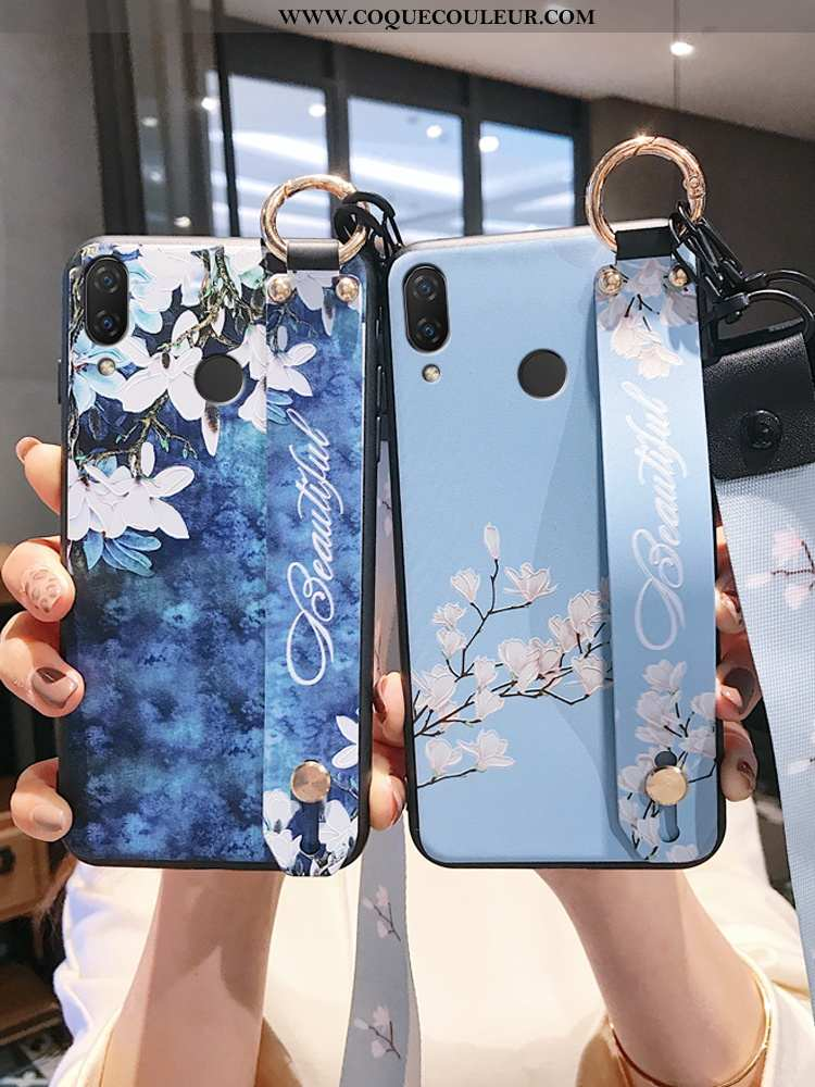 Housse Huawei P20 Lite Gaufrage Téléphone Portable Bleu, Étui Huawei P20 Lite Tendance Silicone Bleu