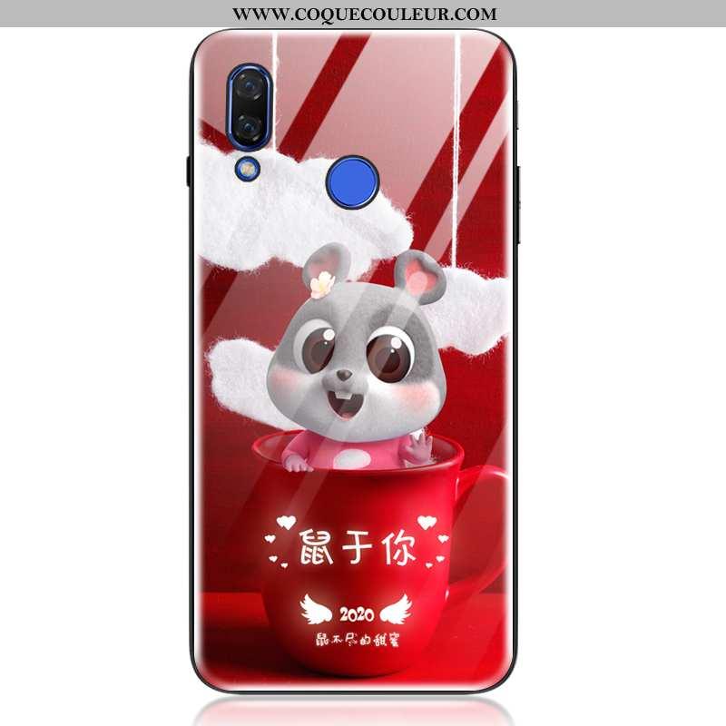 Housse Huawei P20 Lite Tendance Coque Verre, Étui Huawei P20 Lite Fluide Doux Rouge