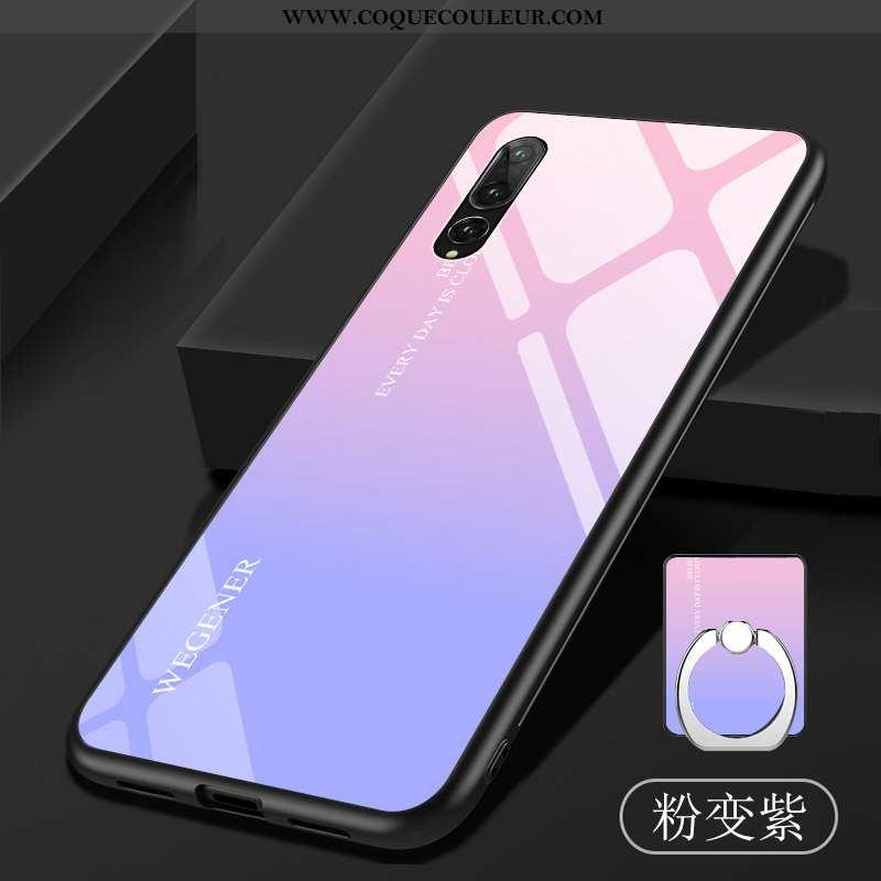 Étui Huawei P20 Pro Fluide Doux Miroir Coque, Coque Huawei P20 Pro Verre Téléphone Portable Violet