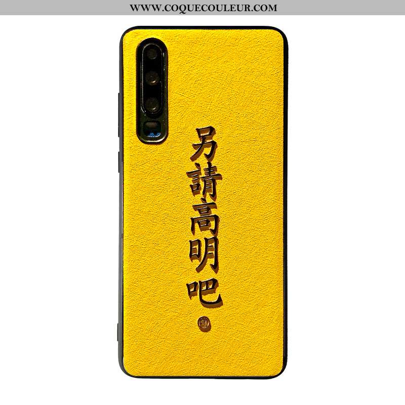 Étui Huawei P30 Mode Simple Téléphone Portable, Coque Huawei P30 Créatif Jaune