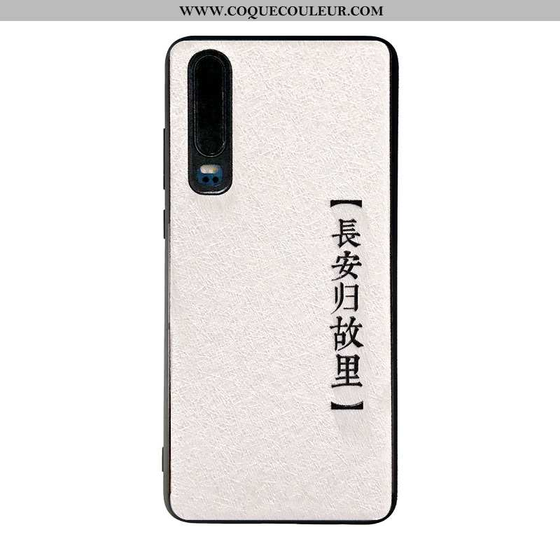 Étui Huawei P30 Gaufrage Noir Longue, Coque Huawei P30 Soie Mulberry Blanc Blanche