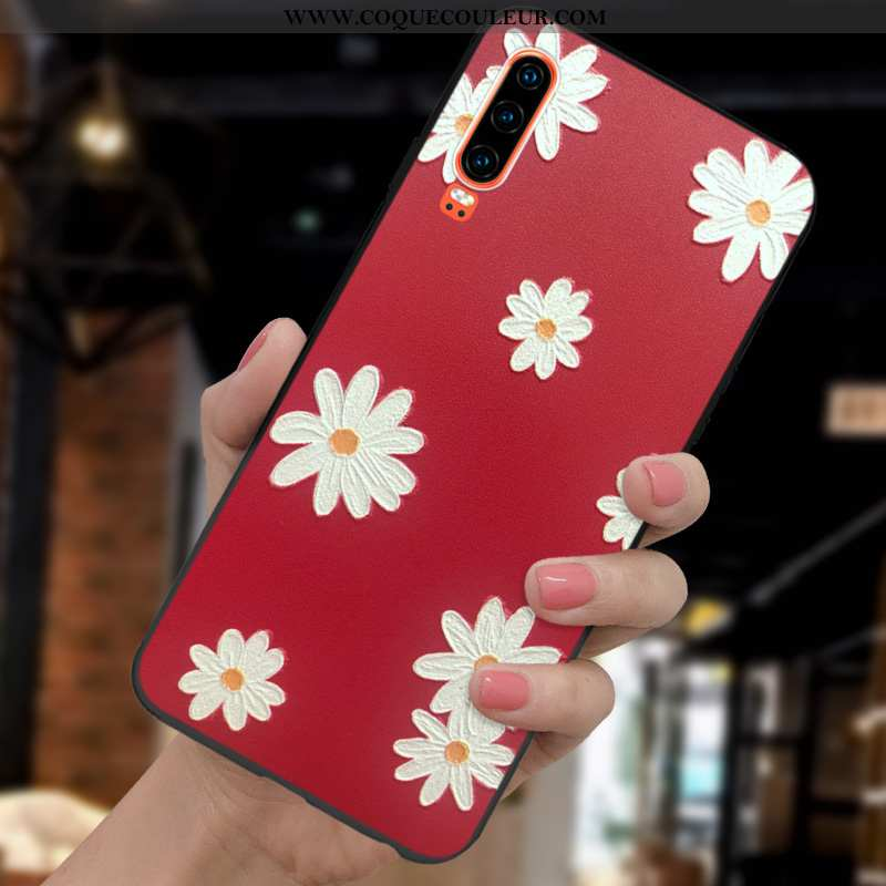 Coque Huawei P30 Mode Tout Compris Incassable, Housse Huawei P30 Protection Gaufrage Rouge