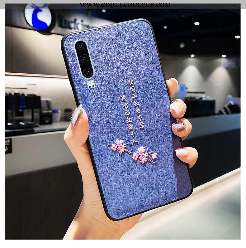 Étui Huawei P30 Fluide Doux Net Rouge Style Chinois, Coque Huawei P30 Silicone Cuir Bleu