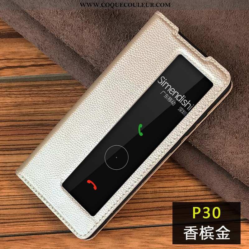 Étui Huawei P30 Protection Housse Tout Compris, Coque Huawei P30 Cuir Véritable Champagne
