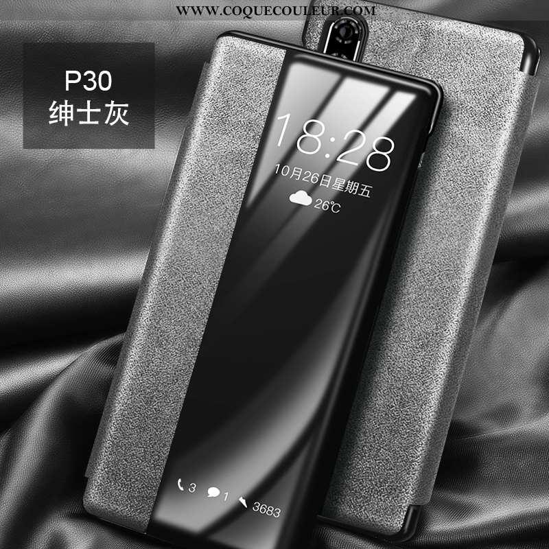Coque Huawei P30 Cuir Tout Compris Antidérapant, Housse Huawei P30 Daim Fourrure Téléphone Portable