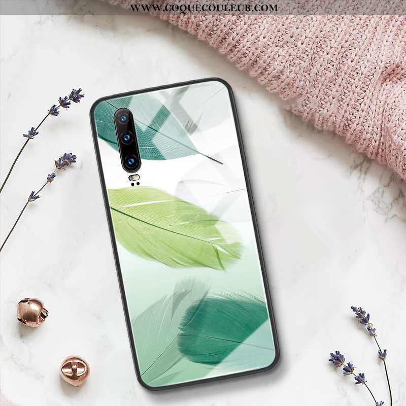 Coque Huawei P30 Silicone Incassable Net Rouge, Housse Huawei P30 Verre Simple Verte