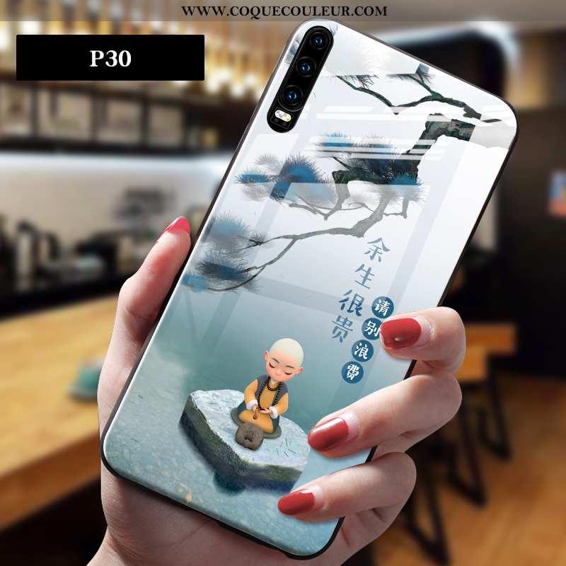Étui Huawei P30 Dessin Animé Personnalité Style Chinois, Coque Huawei P30 Charmant Tendance Gris