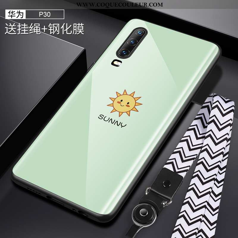 Étui Huawei P30 Protection Coque Cou Suspendu, Huawei P30 Verre Créatif Verte