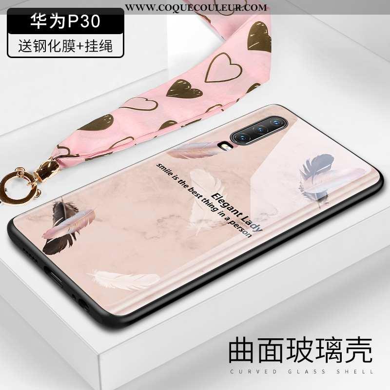 Coque Huawei P30 Verre Cou Suspendu Plume, Housse Huawei P30 Ornements Suspendus Créatif Rose