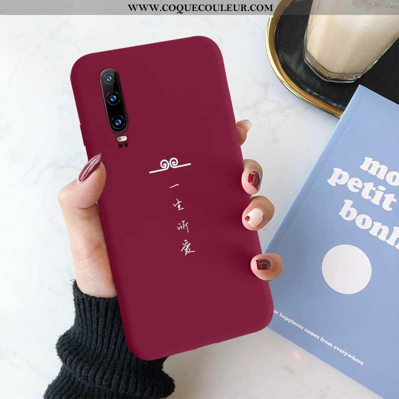 Étui Huawei P30 Créatif Rouge Amoureux, Coque Huawei P30 Silicone Simple
