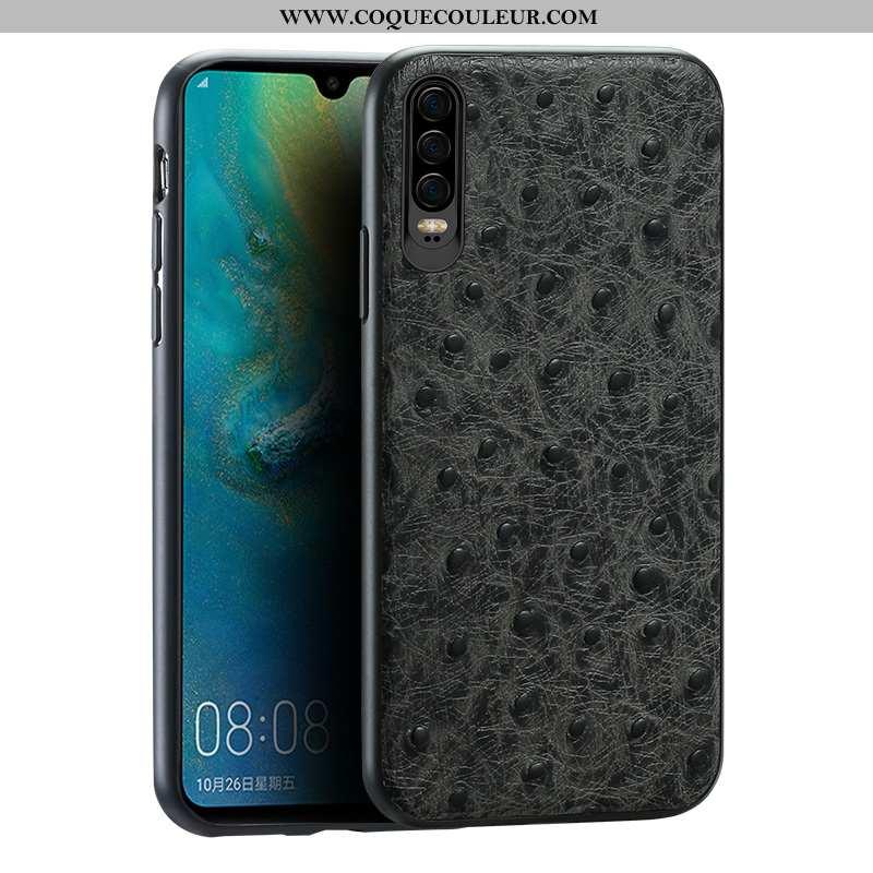 Étui Huawei P30 Cuir Véritable Coque Tout Compris, Huawei P30 Modèle Fleurie Protection Noir