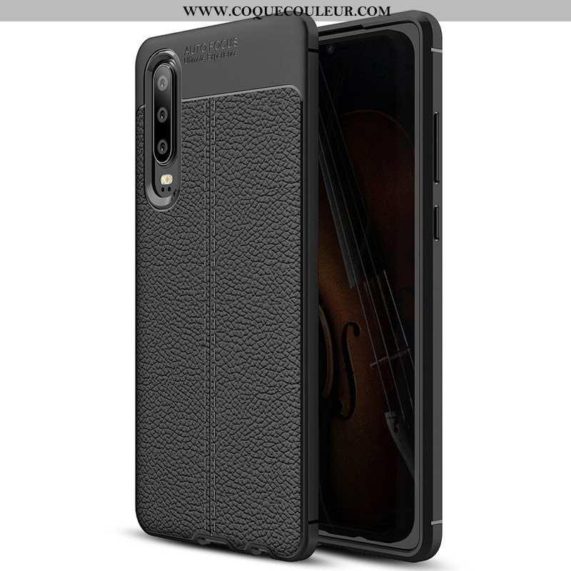 Étui Huawei P30 Silicone Cuir Coque, Coque Huawei P30 Protection Modèle Fleurie Noir