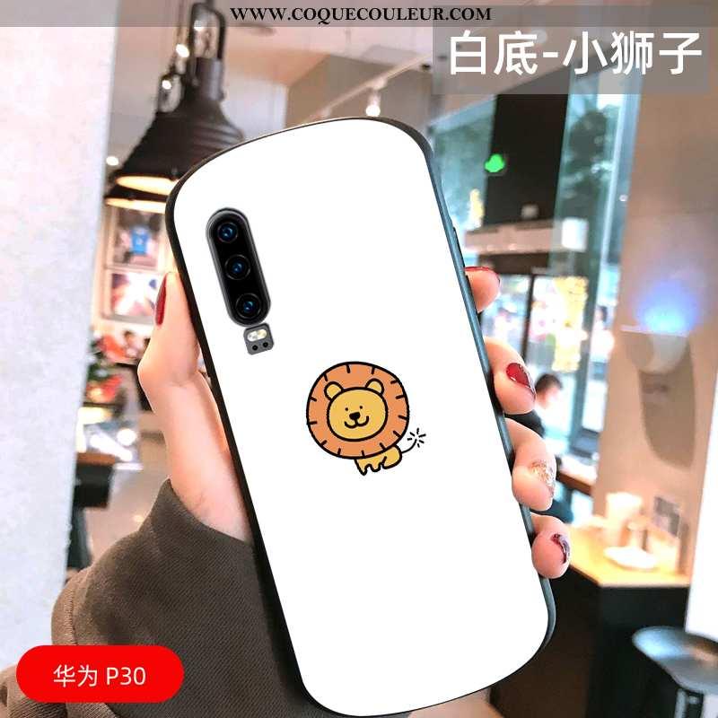 Coque Huawei P30 Protection Miroir Amoureux, Housse Huawei P30 Verre Tout Compris Blanche