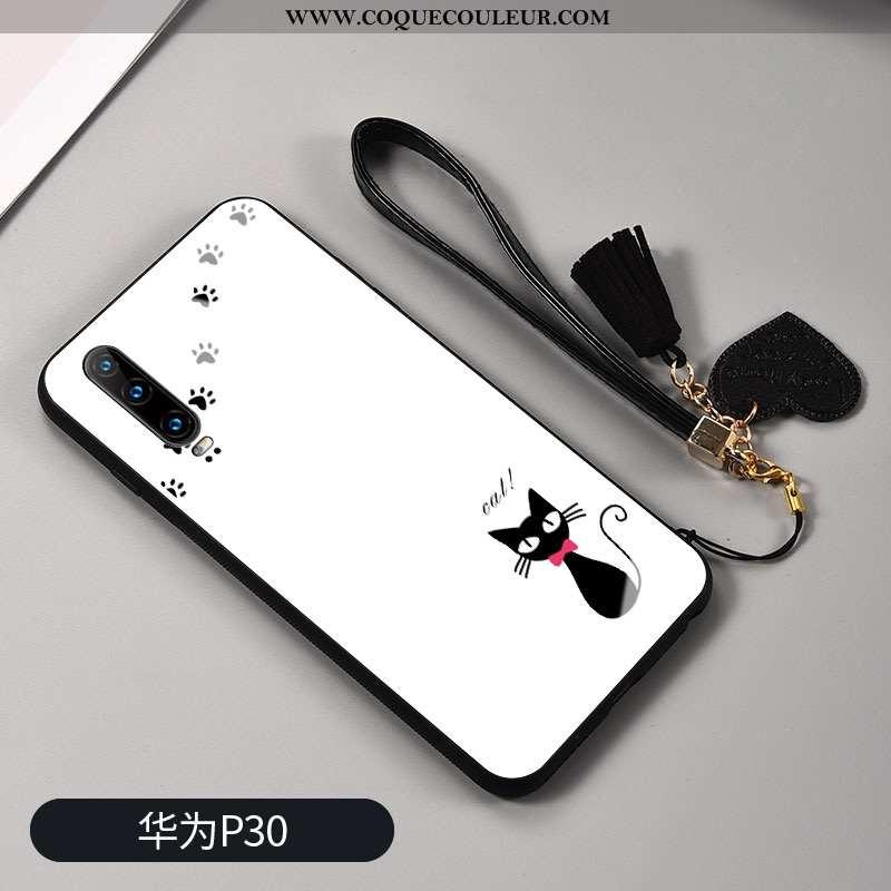 Housse Huawei P30 Ornements Suspendus Petit Étui, Étui Huawei P30 Personnalité Téléphone Portable Bl