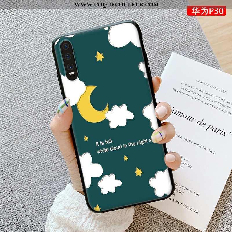 Housse Huawei P30 Fluide Doux Charmant Ultra, Étui Huawei P30 Silicone Dessin Animé Verte