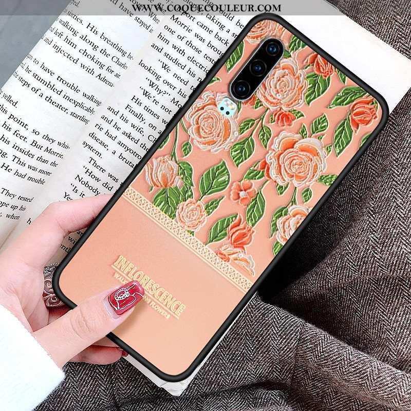 Housse Huawei P30 Personnalité Gaufrage Peinture, Étui Huawei P30 Créatif Fluide Doux Rose