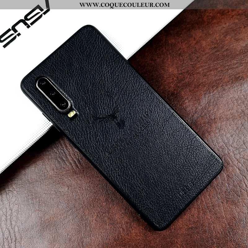 Étui Huawei P30 Ultra Cuir Véritable Protection, Coque Huawei P30 Légère Téléphone Portable Noir