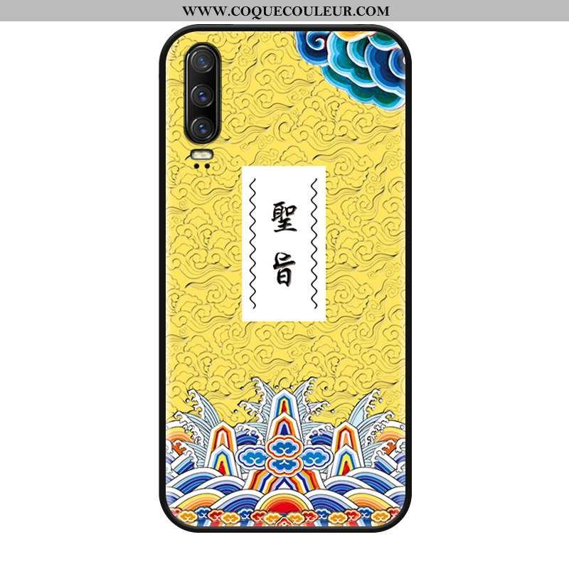 Housse Huawei P30 Délavé En Daim Jaune Incassable, Étui Huawei P30 Ornements Suspendus Silicone