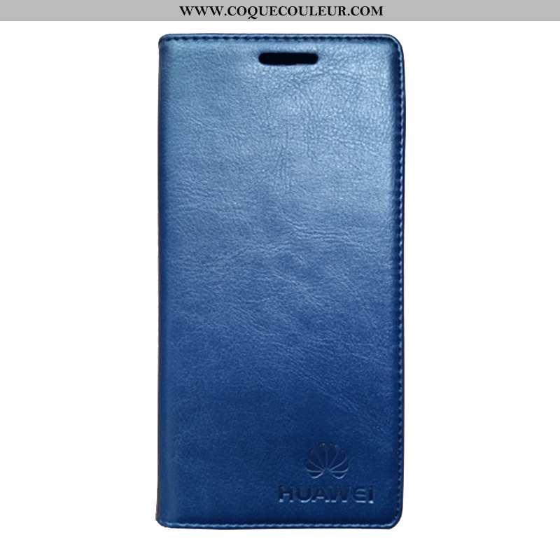 Housse Huawei P30 Cuir Véritable Noir Housse, Étui Huawei P30 Cuir Incassable Bleu Foncé
