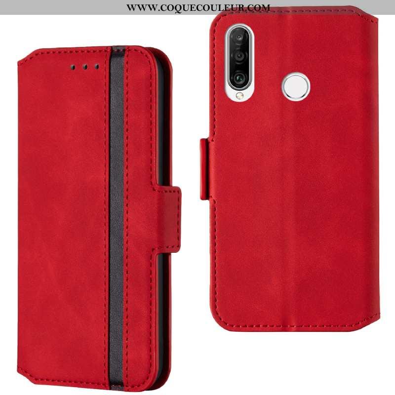 Housse Huawei P30 Lite Xl Cuir Carte Étui, Étui Huawei P30 Lite Xl Téléphone Portable Tempérer Rouge