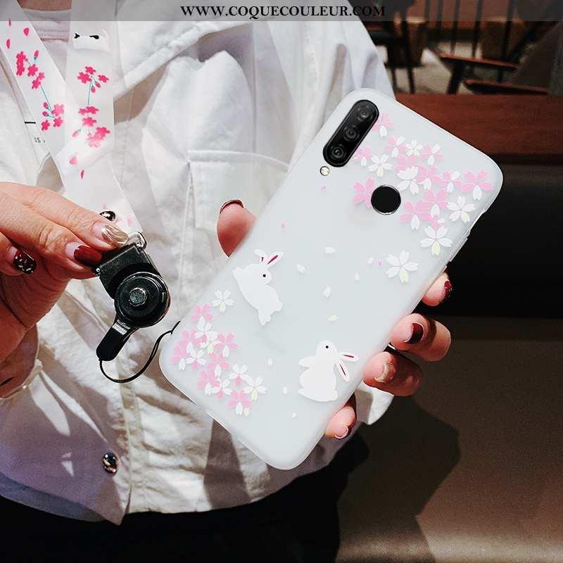 Coque Huawei P30 Lite Xl Fluide Doux Blanc, Housse Huawei P30 Lite Xl Ornements Suspendus Étui Blanc