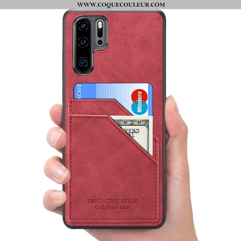 Housse Huawei P30 Pro Portefeuille Étui Rouge, Huawei P30 Pro Cuir Téléphone Portable Rouge