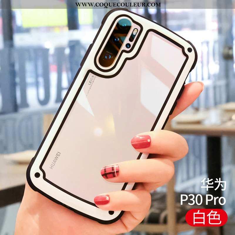 Étui Huawei P30 Pro Fluide Doux Net Rouge Blanc, Coque Huawei P30 Pro Silicone Créatif Blanche
