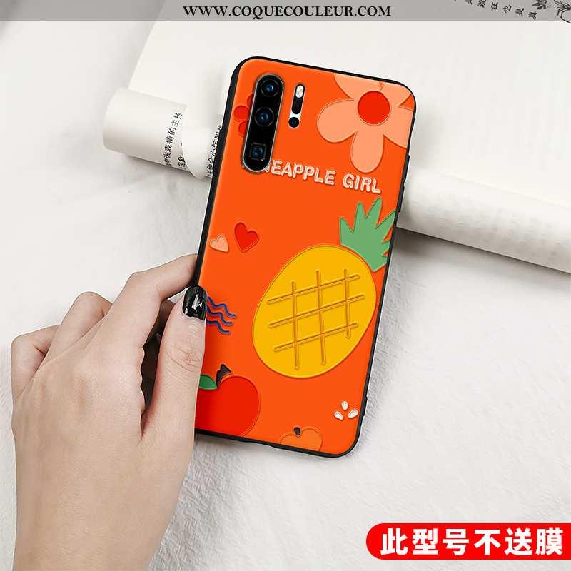 Housse Huawei P30 Pro Protection Gaufrage Fruit, Étui Huawei P30 Pro Délavé En Daim Vent Orange