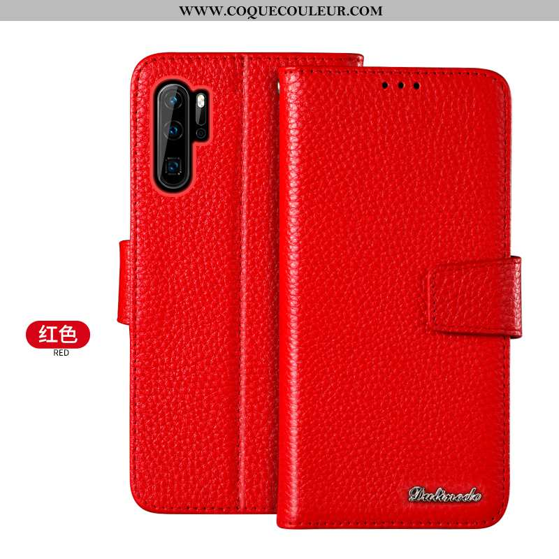 Étui Huawei P30 Pro Portefeuille Jeunesse Coque, Coque Huawei P30 Pro Cuir Véritable Rouge