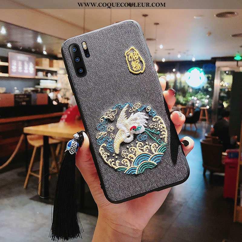 Étui Huawei P30 Pro Broderie Style Chinois Téléphone Portable, Coque Huawei P30 Pro Gaufrage Grue Gr