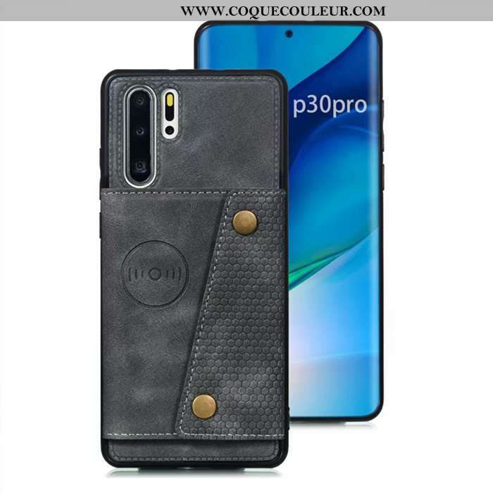Housse Huawei P30 Pro Cuir Sac Carte Téléphone Portable, Étui Huawei P30 Pro Protection Coque Gris