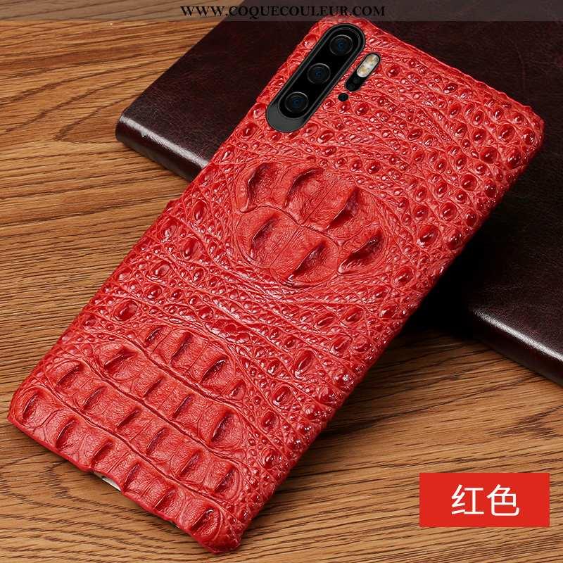 Étui Huawei P30 Pro Protection Business Cuir, Coque Huawei P30 Pro Luxe Incassable Rouge