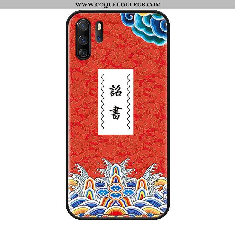 Étui Huawei P30 Pro Délavé En Daim Style Chinois, Coque Huawei P30 Pro Ornements Suspendus Rouge