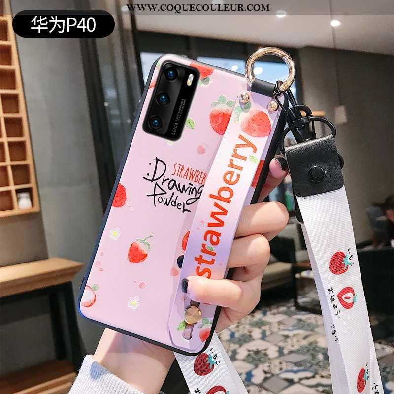 Étui Huawei P40 Légère Créatif Silicone, Coque Huawei P40 Fluide Doux Ultra Rose