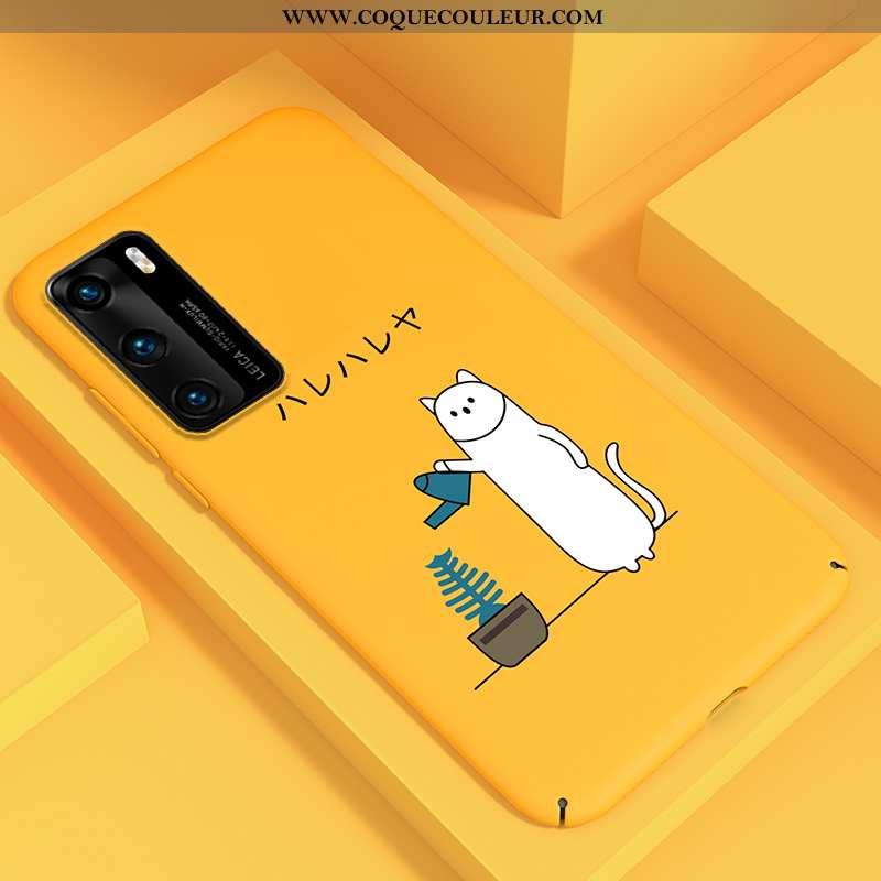 Étui Huawei P40 Légère Tout Compris Ultra, Coque Huawei P40 Délavé En Daim Net Rouge Jaune