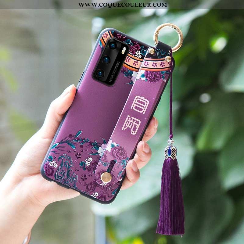 Housse Huawei P40 Fluide Doux Étui Téléphone Portable, Huawei P40 Protection Incassable Violet