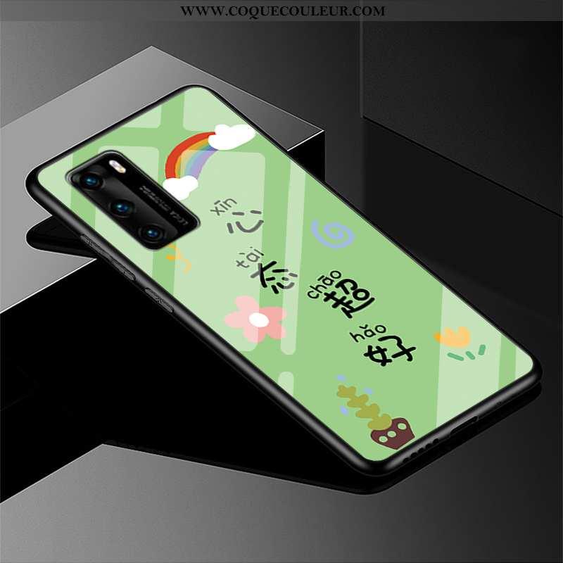 Housse Huawei P40 Créatif Téléphone Portable Coque, Étui Huawei P40 Tendance Fluide Doux Verte