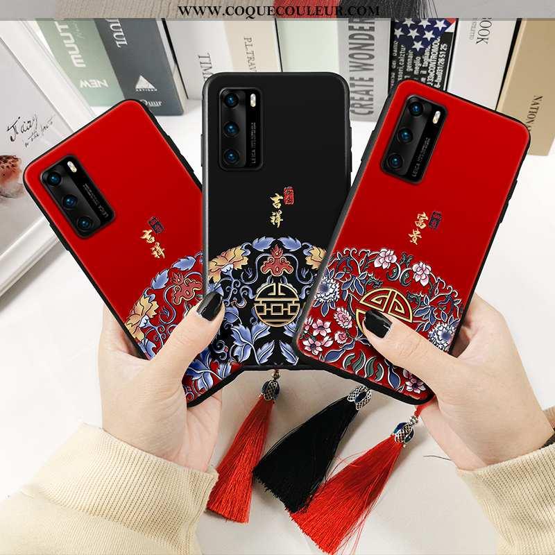 Coque Huawei P40 Protection Étui Téléphone Portable, Housse Huawei P40 Fluide Doux Rouge