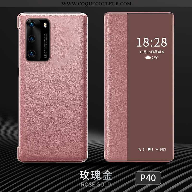 Étui Huawei P40 Personnalité Cuir Dormance, Coque Huawei P40 Créatif Protection Rose
