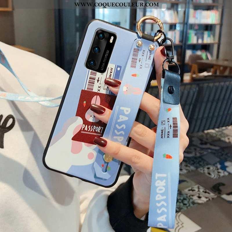 Coque Huawei P40 Fluide Doux Bleu Bordure, Housse Huawei P40 Mode Cou Suspendu