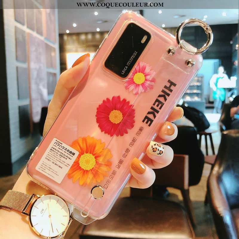 Coque Huawei P40 Silicone Petite Marguerite Transparent, Housse Huawei P40 Protection Frais Rose