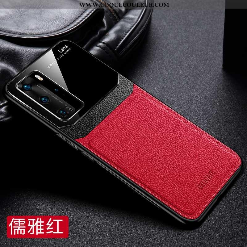 Housse Huawei P40 Luxe Nouveau Cuir, Étui Huawei P40 Délavé En Daim Incassable Rouge